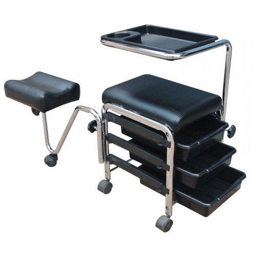 Manikīra pedikīra ratiņi un kāju atbalstu, melns CH-5005A