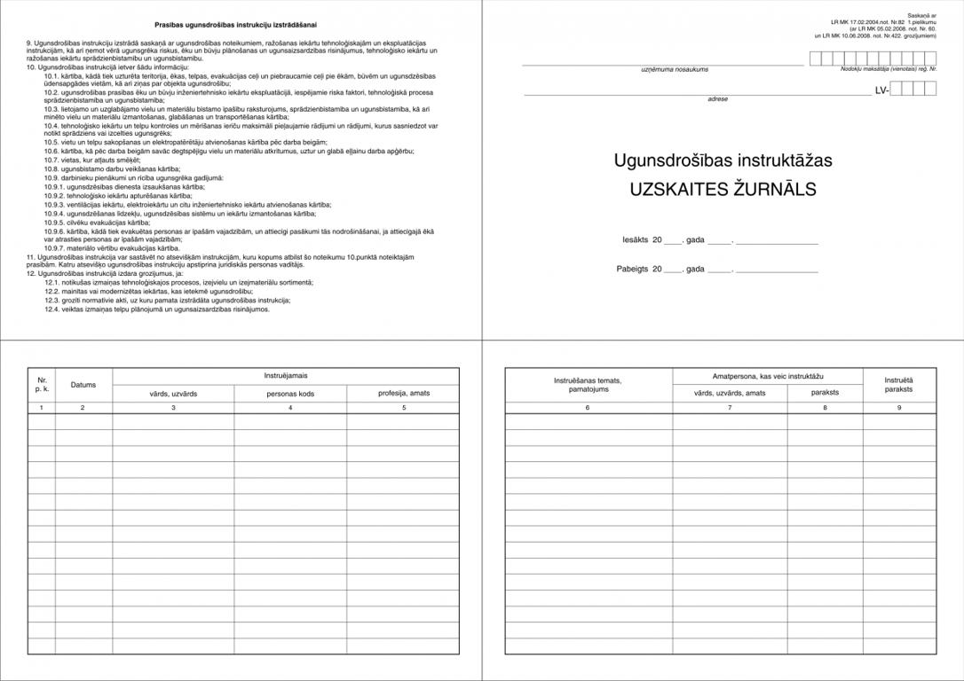 Ugunsdrošības instruktāžu uzskaites žurnāls