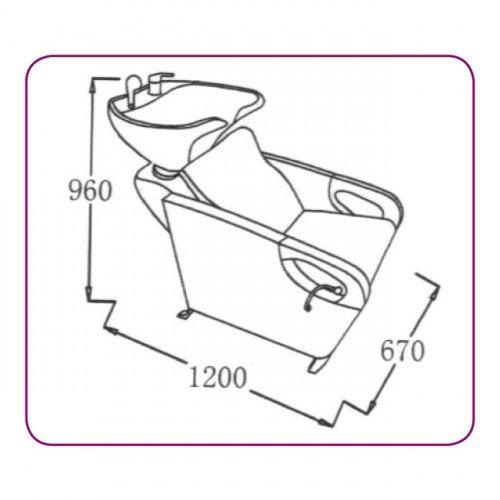 Baltā keramiskā izlietne frizētavai ar krēslu 583-1