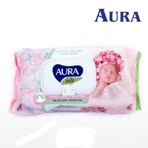 Mitrās salvetes Aura Baby ar alvejas ekstraktu, 100gb
