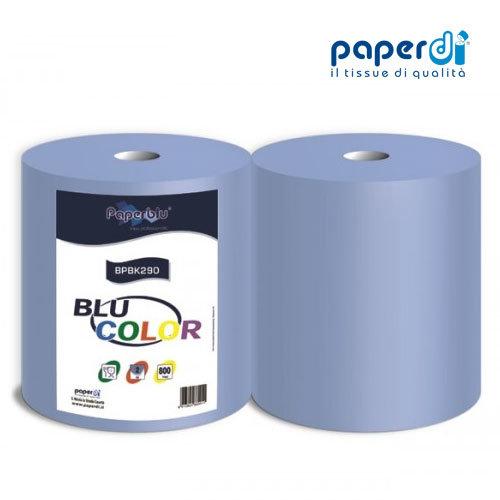 Industriālais papīrs zils Paperdi 3 kārtas, 24.8x25cm, 200m, 800lapas, 1 rullis