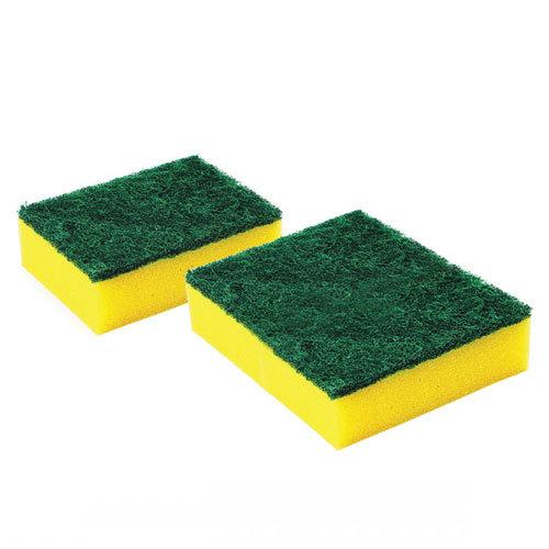 Sūklis ar abrazīvu dzeltens/zaļš, 9.5x7x3cm