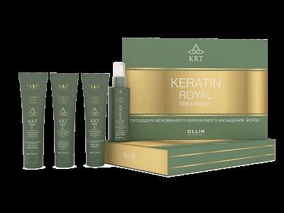 Komplekts šampūns, 100ml+balzāms, 100ml+serums, 100ml+spīdums OLLIN Keratine Royal Treatment Set, 100ml
