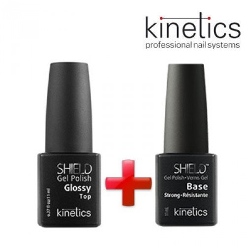Želejlakas Kinetics Shield Extra Gloss Top Coat, 15ml+Kinetics Shield Strong bāze, 15ml