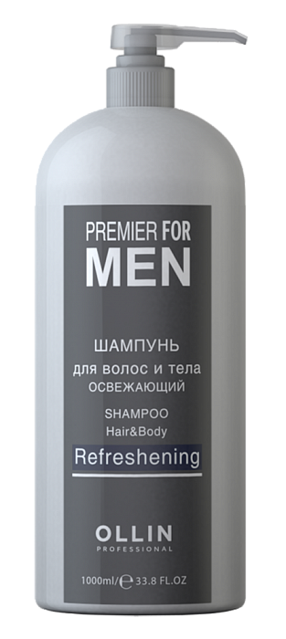Šampūns matiem un ķermenim ar atvēsinošu efektu OLLIN Premier for Men Shampoo, Hair&Body Refreshening, 1L