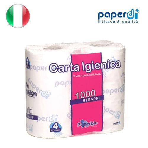 Tualetes papīrs Paperdi 2 kārtas, 9.6x12cm, 1000 loksnes, 4 ruļļi