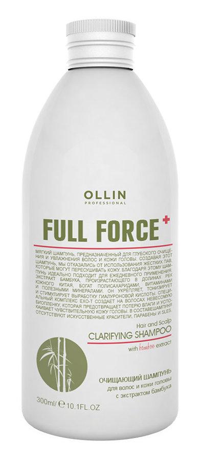 Attīrošs šampūns ar bambusa ekstraktu OLLIN Full Force Hair&Scalp purifying shampoo with bamboo extract, 300ml