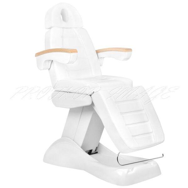 Kosmetoloģiskais krēsls LUX WHITE ar 3 motoriem, turētāju, bezvadu pulti, vadību no telefona un atmiņu