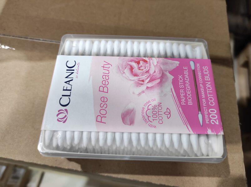 Vates kociņi Cleanic Rose Beauty, 200gab, uz kartona kociņa