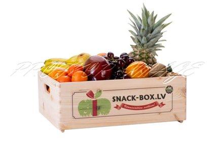 Mini augļu dāvana koka kastītē