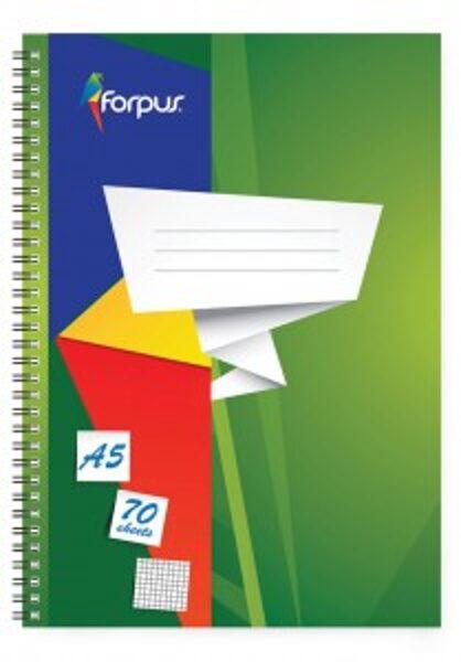 Klade Forpus ar spirāli A5, 70 lpp, rūtiņu