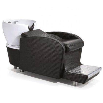 Baltā keramiskā izlietne frizētavai ar krēslu 566