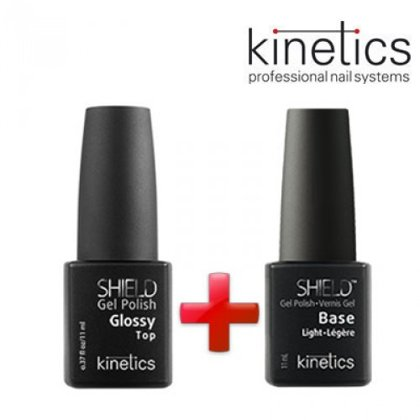 Želejlakas Kinetics Shield Extra Gloss Top, 15ml+Kinetics Shield Glossy Light bāze, 15ml