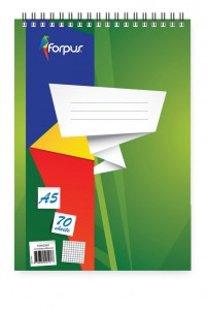 Bloknots Forpus ar spirāli A5, 70 lpp, rūtiņu