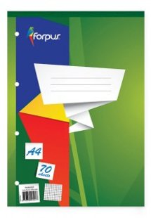 Piezīmju bloks Forpus A4, 70 lpp, rūtiņu, ar perforāciju