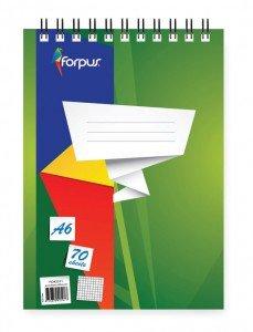 Bloknots Forpus ar spirāli A6, 70 lpp, rūtiņu