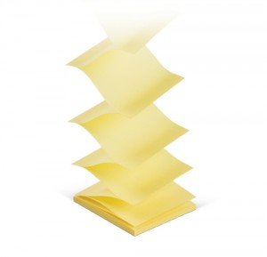 Z-veida līmlapiņas, 75x75 mm, dzeltenas, 100 lpp