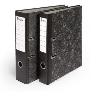 Mape-reģistrs Forpus A4, 70mm, ar met.malu, melna-marmora