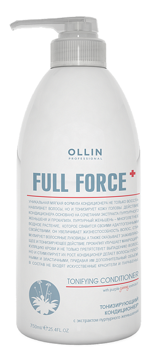 Tonizējošs kondicionieris ar purpura žeņšeņa ekstraktu OLLIN Full Force Tonifying conditioner, 750ml