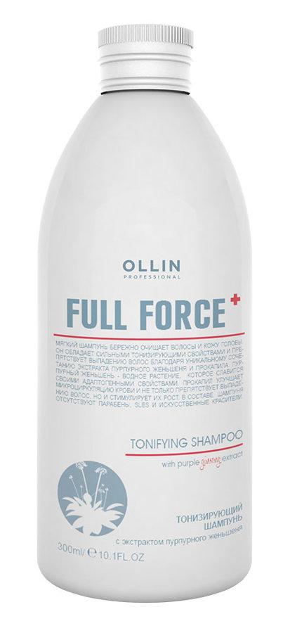 Tonizējošais šampūns ar purpura žeņšeņa ekstraktu OLLIN Full Force Tonifying shampoo with purple ginseng extract, 300ml